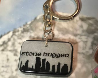 SALE!-Stone Hugger Keychain- Large Resin Pendant-Outlander Keychain-Stone Hugger-Rainbow Pendant- made with resin