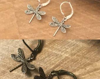 Dragonfly Earrings - Outlander Inspired - Outlander Jewelry - Medium Dragonfly - Brass earrings - Silver earrings
