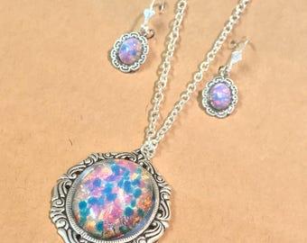 Pink Opal~Glass Pendant~Opal Necklace~Opal Jewelry Set~Opal Earrings~matching earrings