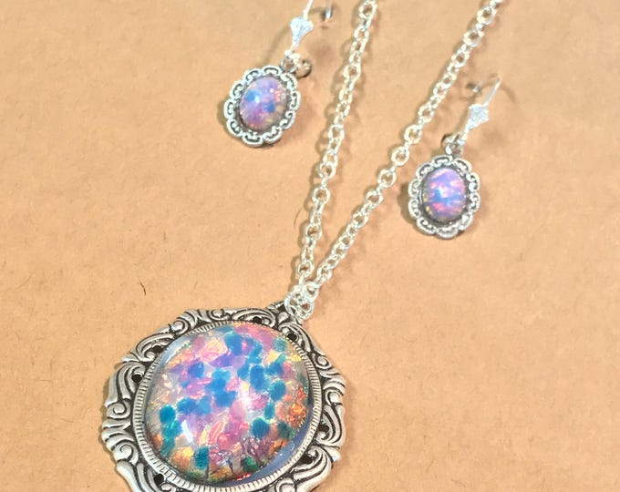 Pink Opal~Glass Pendant~Opal Necklace~Opal Jewelry Set~Opal Earrings~matching earrings