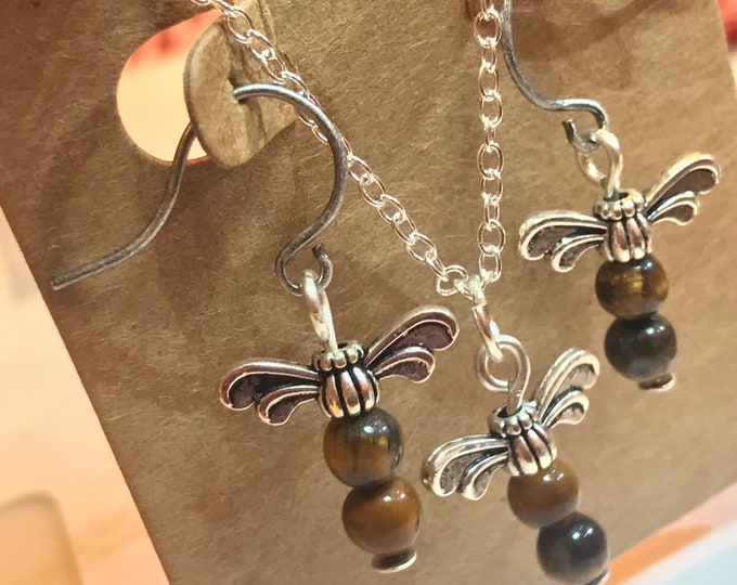 Dragonfly Jewelry Set~Necklace and Earrings~Silver Dragonfly Jewelry~Dragonfly Jewelry~Outlander Jewelry~Dragonfly in Amber~Tiger Eye