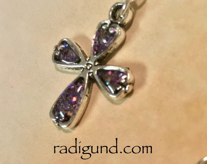 Cross Set~Cross Necklace~ Silver Earrings~Silver Necklace~Purple Cross~Sparkle Necklace~Cross Charm~Resin Jewelry-stained glass look