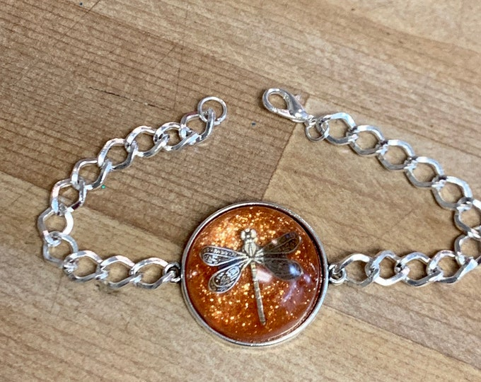 Dragonfly in Amber~ Round Silver Bracelet Outlander bracelet~Resin Pendants~Silver bracelet~Outlander Inspired Jewelry