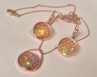Mermaid Jewelry Set~ Rose Gold Earrings~Rose Gold Necklace~Scale Earrings~Sparkle Earrings~Mermaid Necklace~Resin Jewelry Set