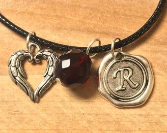 SALE! Griffon necklace, Heart Earrings, Shadowhunter, necklace, Garnet, Red, gothic, Shadowhunter Jewelry