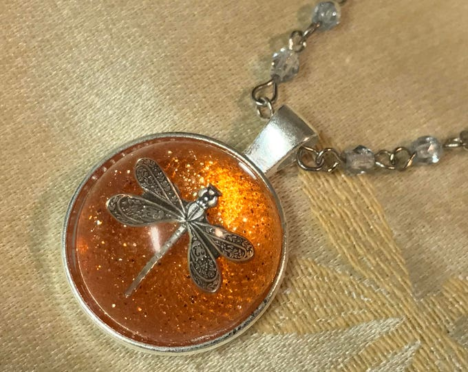 Dragonfly in Amber~Outlander Necklace~Round Silver Pendant~Resin Pendants~Silver necklace~Outlander Inspired Jewelry