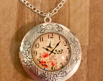 Silver Locket~Elegant~Clock Locket-Photo Locket-Silver Pendant-French Clock photo~5 past 10