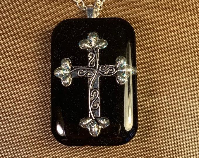 Silver Cross~Cross Pendant~Large Pendant~Resin Pendant~Celtic Jewelry~Outlander Jewelry~Silver Necklace~Cross Necklace