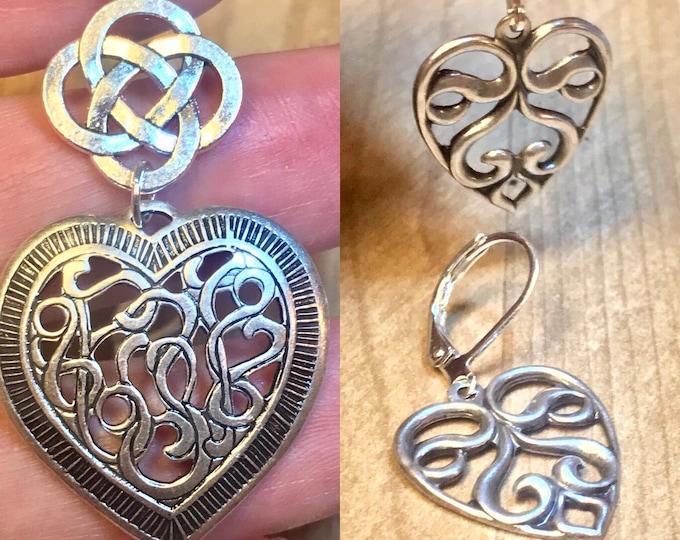 Heart Jewelry~ Silver Earrings~Silver Necklace~silver heart~celtic heart~celtic Necklace~heart Charm~celtic jewelry~silver celtic jewelry
