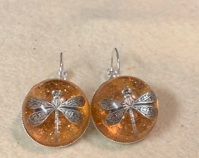 Dragonfly in Amber~Silver Dragonfly Earrings~Amber Earrings-Silver Earrings~Dragonfly Earrings~silver amber Earrings