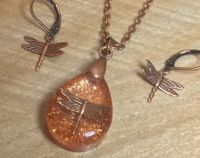 Copper Outlander Jewelry~Dragonfly in Amber ~ Dragonfly Pendant - Resin Pendant - Outlander inspired - Copper Necklace~Tear Pendant