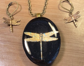 Black Dragonfly Pendant~Dragonfly Necklace~Resin Pendant~Outlander Inspired~Celtic Dragonfly~Outlander Jewelry~Bronze~Brass
