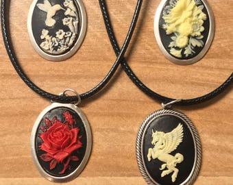Cameo Pendants-Rose Cameo-Hummingbird Cameo-Unicorn Cameo-Silver Necklace-Black Cord-Antique Cameo-Antique Pendant
