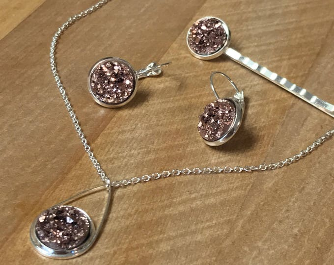 Rose gold Drusy ~Jewelry Set~ Silver Earrings~Silver Necklace~ Drusy Earrings~Sparkle Earrings~Drusy Necklace~Resin Jewelry Set