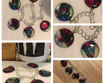 Butterfly Bracelet~Butterfly Charms - Butterfly photo bracelet- Resin Pendants - charm bracelet -