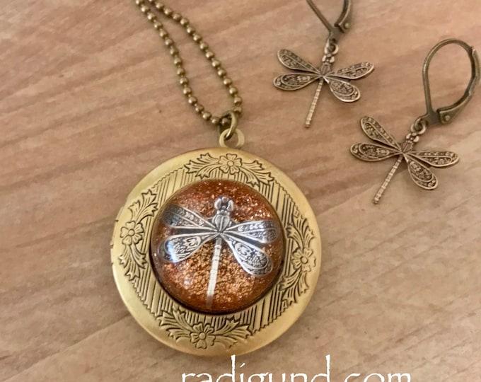 Bronze Locket-Dragonfly in Amber-Photo Locket-Bronze Pendant-Dragonfly Locket