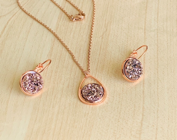 Drusy Jewelry Set~ Rose Gold Earrings~Rose Gold Necklace~Crystal Earrings~Sparkle Earrings~Crystal Necklace~Resin Jewelry Set