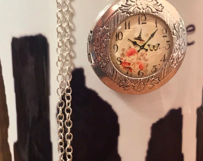 Silver Locket~Elegant~Clock Locket-Photo Locket-Silver Pendant-French Clock photo~5 past 10