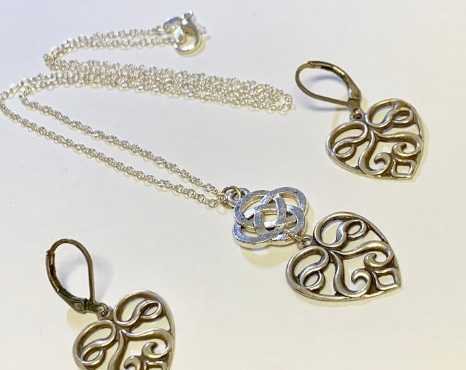 Heart Jewelry~ Silver Earrings~Silver Necklace~silver heart~Irish Heart~celtic Necklace~heart Charm~celtic jewelry~silver celtic jewe
