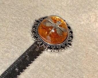 Dragonfly in Amber~Outlander Bookmark~Dragonfly Pendant~Resin Pendants~Silver Bookmark~Outlander Inspired Gifts~Outlander Ruler