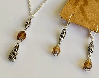 Topaz set-Smokey topaz-silver necklace- topaz earrings-outlander inspired-outlander jewelry