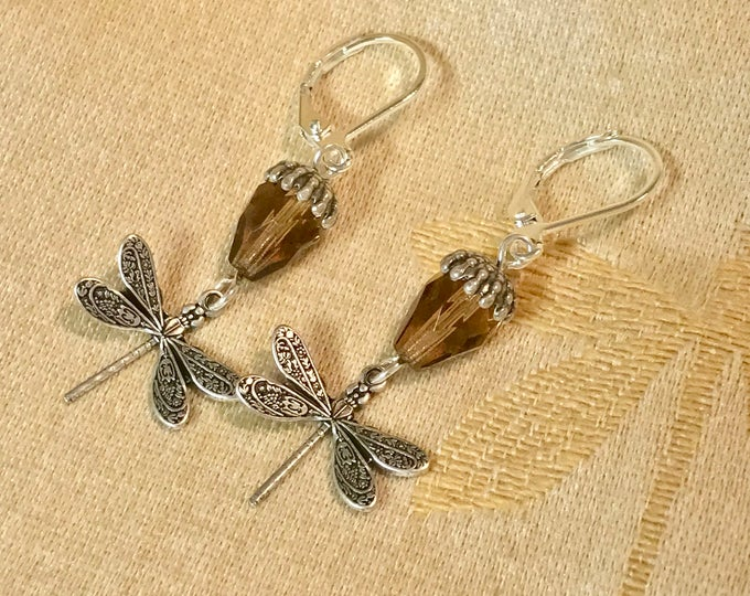 Dragonfly earrings - smoked topaz - dragonfly in amber - Outlander Inspired - outlander jewelry - antique brass - sterling silver