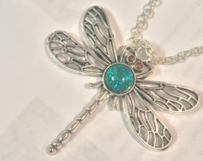 Dragonfly Pendant~ Silver Pendant~Silver Necklace~Dragonfly~Sparkle Pendant~Sparkle Necklace~Dragonfly Charm~Resin Jewelry