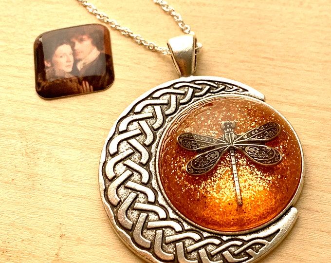Dragonfly in Amber~Outlander Necklace~Celtic Moon~Round Silver Pendant~Resin Pendants~Silver necklace~Outlander Inspired Jewelry~Dragonfly