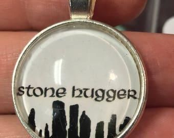 Pretty pendants~stone hugger~Round Silver Pendant~Black cord necklace~Outlander Inspired Jewelry
