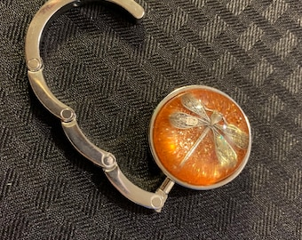 Dragonfly in Amber~ Round Silver Purse Hook Outlander purse hook~Resin Pendants~Silver purse hook~Outlander Inspired gifts