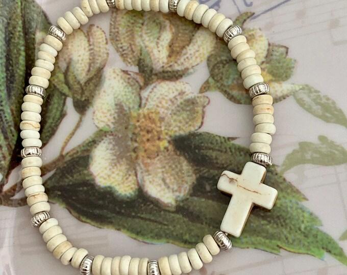 Unisex Bracelet~Easter bracelet~Stretch Bracelet~Turtle Bracelet~Cross Bracelet~Stone Beads~Bead Bracelet-ivory bracelet- turquoise