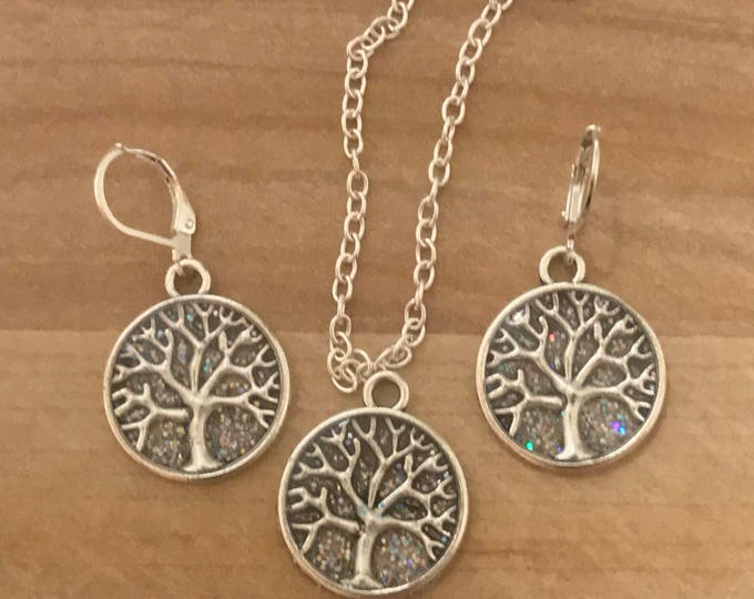 Winter Jewelry Set~ Silver Earrings~Silver Necklace~Tree of Life~Sparkle Earrings~Sparkle Necklace~Tree of Life Charm~Resin Jewelry Set