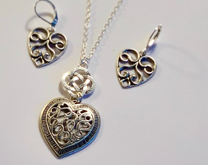 Heart Jewelry~ Silver Earrings~Silver Necklace~silver heart~celtic heart~celtic Necklace~heart Charm~celtic jewelry~silver celtic jewelry
