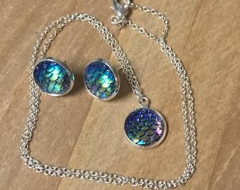Mermaid Jewelry set- Mermaid Earrings-Mermaid Necklace-Silver Plated Earrings-Mermaid Scale-Purple Jewelry-Green Jewelry