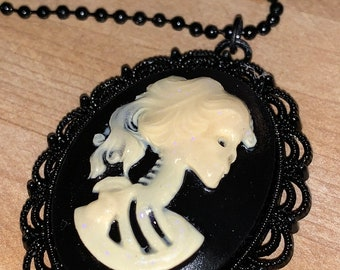 Lolita Necklace~Lolita Skull~Glow Necklace~Cameo Necklace-Cameo Woman-Gothic Cameo Pendant-Skull Necklace~Glow in the dark~Black Necklace