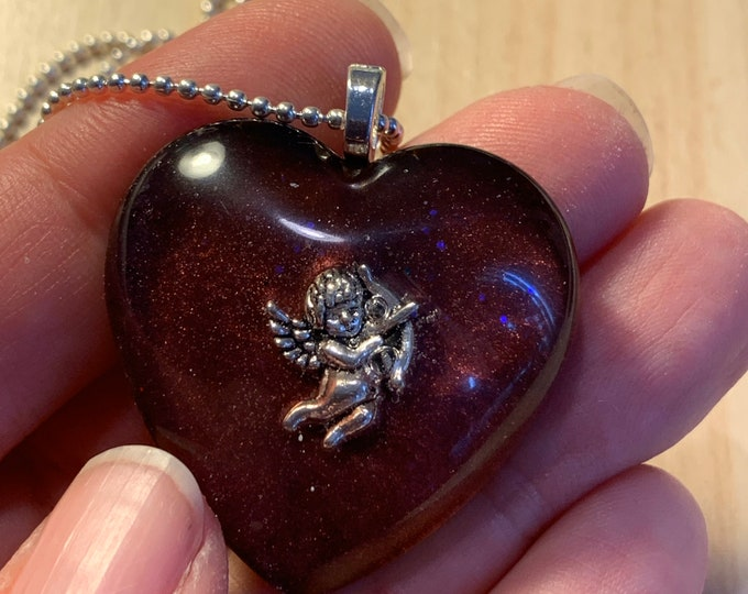 Burgundy Heart Pendant~Heart Necklace~Resin Cherub Pendant~Baby Angel~Love~Cupid~Outlander Jewelry~Cherub~Heart jewelry