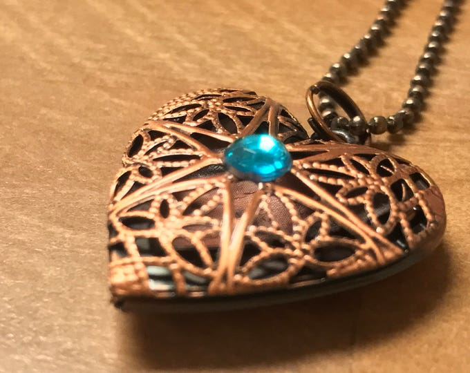 Copper Locket-Aqua Crystal-Essential Oil-Photo Locket-Copper Pendant-Antique Copper~Copper Necklace