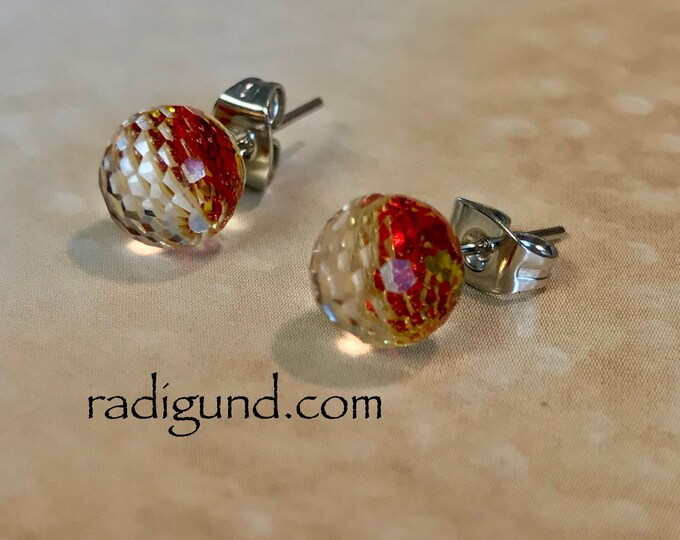 Amber Stud Earrings~ Stainless Earrings~Silver Earrings~Sparkle Earrings