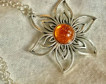 Amber Flower Pendant~ Silver Pendant~Silver Necklace~Sunflower~Sparkle Pendant~Sparkle Necklace~Sunflower Charm~Resin Jewelry