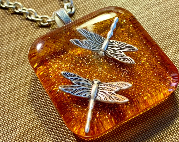 Silver - Dragonflies in Amber - Amber Pendant - Resin Pendant - Outlander Inspired - Celtic Dragonfly~Outlander Jewelry - Silver Necklace