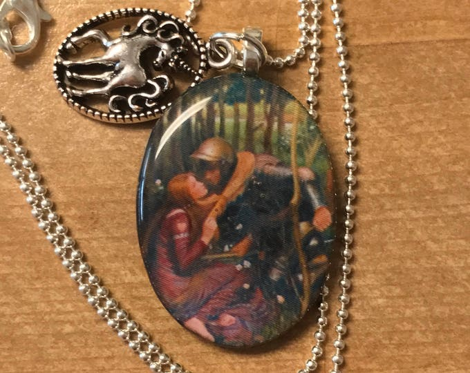 Unicorn - Belle Dame - Renaissance - Large Resin Pendant - Waterhouse - Fantasy - Necklace~fairy tale necklace