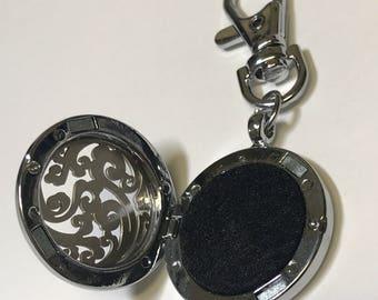Diffuser keychain - Locket Keychain- Silver keychain -Outlander Inspired-Outlander Jewelry- Floral keychain - keychain locket