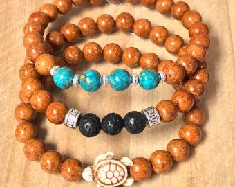 Unisex Bracelet~Stretch Bracelet~Turtle Bracelet~Lava Bracelet~Riverstone Beads~Bead Bracelet