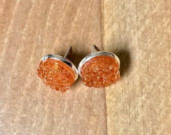 Drusy Earrings~Druzy Earrings~Amber Earrings~Silver Earrings~Sparkle Earrings