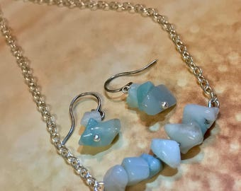 Amazonite jewelry Set~blue green gemstones~Earrings and Necklace~Real Gemstones~Matching Jewelry~BOHO Jewelry Set~Light Aqua Jewelry set