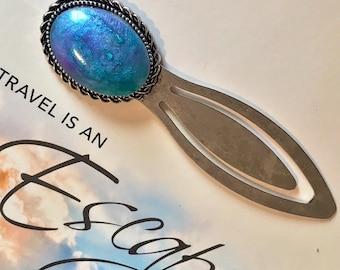 Victorian bookmark~bookmark~vintage~aqua~purple~silver~read~gift~book lover