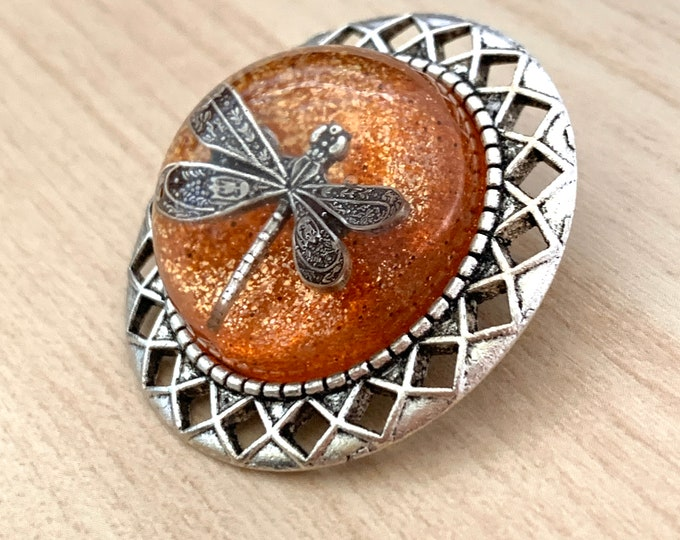 Silver Brooch-Dragonfly in Amber~ Brooch- Sweater Pin~Dragonfly Brooch-Outlander Inspired