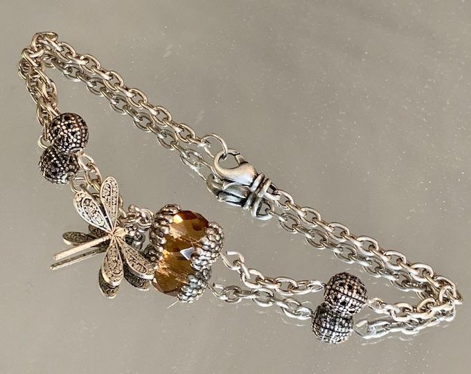 Dragonfly bracelet-Smokey topaz-silver bracelet- outlander bracelet-outlander inspired-outlander jewelry