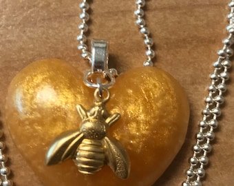 Honey Bee - Heart - Resin Pendant - Yellow - Gold Bee Charm - Necklace - silver chain - black cord necklace
