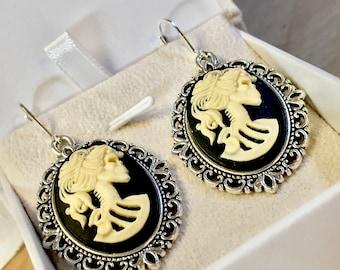 Victorian Set~Lolita Skull~Cameo Earrings-Cameo Woman-Antique Cameo Pendant-Skull Earrings-Lolita Earrings~Black Cameo-Silver Earrings